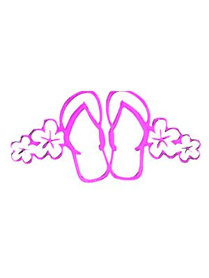 In Bloom Die Cut Sticker - Flip flop with Hibiscus #701