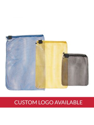 Mesh Drawstring Bag with D-Ring with Imprint